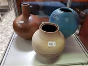 Sale 8476 - Lot 1071 - Collection of Three Studio Pottery vases