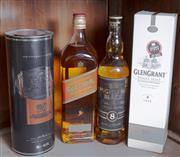 Sale 8489A - Lot 63 - 4 x bottles of whiskey inc; Glen Grant, Johnny Walker Red, Highland Black & Glen Orrin Strictly Ltd Release 30yr old scotch whiskey