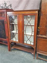 Sale 8714 - Lot 1012 - Edwardian Inlaid Mahogany Display Cabinet, with two astragal doors, tapering legs & shelf (key in office)
