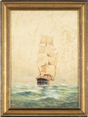 Sale 8781A - Lot 5081 - Frederick Elliot (1864 - 1949) - Tall Ship at Sea 37 x 26cm