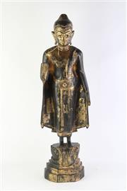 Sale 8802 - Lot 179 - Burmese Standing Buddha on Lotus Base in Black & Gold