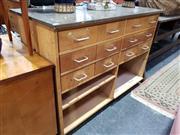 Sale 8834 - Lot 1033 - Vintage School Science Cabinet Eleven Drawers & Shelving Below