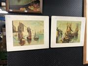 Sale 8853 - Lot 2081 - Pair of Timber Decorative Prints (af)