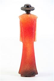 Sale 8897 - Lot 33 - A Kosta Boda Red Art Glass Signed Kjell Engman Catwalk Figure (H 19.5cm)