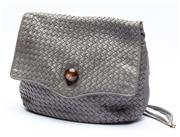 Sale 8926H - Lot 29 - A soft leather Italian shoulder bag in grey with weave design, adjustable tie straps and button clasp to front, Width 32cm