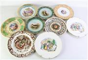 Sale 8989 - Lot 23 - Collection of 9 cabinet plates incl. Wedgwood Etruia, Limoges, and Royal Crown Derby