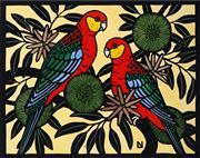 Sale 9013 - Lot 506 - Leslie Van Der Sluys (1939 - 2010) - Western Rosellas and Bushy Yate, 1983 31.5 x 40 cm (sheet: 38.5 x 57 cm)