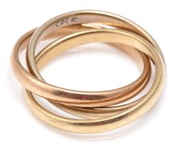 Sale 9115 - Lot 320 - A 14CT GOLD TRI COLOUR RUSSIAN BAND; 2.3mm wide bands in yellow, white and rose gold, size I1/2, wt. 5.01g.