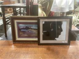 Sale 9106 - Lot 2037 - Artist Unknown (two works), Profile of a Woman & a Beach Scene, acrylic on paper, each signed