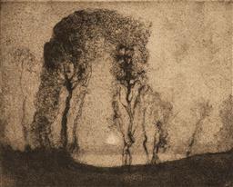 Sale 9125 - Lot 568 - Sydney Long (1871 - 1955) Moonlight aquantint, ed. 16/30 14 x 17.5 cm (frame: 35 x 36 x 2 cm) signed lower right. Provenance: The Es...