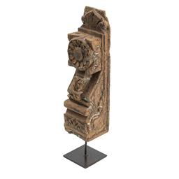Sale 9140F - Lot 52 - A Gujarati Toda table decor on a metal stand uses carved detailing on distressed wood. Finished in a weathered grey with a square ba...