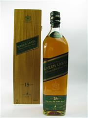 Sale 8290 - Lot 455 - 1x Johnnie Walker Green Label 15YO Blended Scotch Whisky - 700ml in timber box