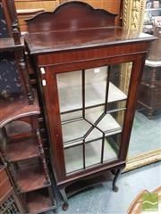 Sale 8416 - Lot 1021 - Edwardian Mahogany Display Cabinet, with astragal door & cabriole legs joined by a shelf (Key in Office)