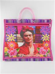 Sale 8514H - Lot 19 - Frida Kahlo Tote Bag w zip pocket & short handle