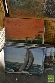 Sale 8544 - Lot 2052 - John Colbert (XX) (9 works) - Various Street, Landscape, Beach and Sail Ship Scenes, acrylics on canvas, each signed, various sizes.