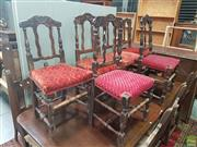 Sale 8601 - Lot 1337 - Set 4+2 19th Century French Carved Fruitwood Chairs, with carved top rails & serpentine slats, all with red upholstery & turned legs