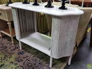 Sale 8629 - Lot 1028 - Vintage Timber and Cane Painted Two Tiered Table