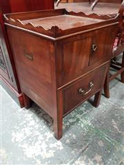 Sale 8814 - Lot 1072 - George III Mahogany Bedside Cabinet, with gallery back, two doors & single step drawer (missing panel), on square legs