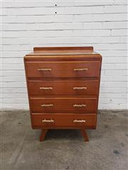 Sale 9080 - Lot 1075 - Timber chest of 4 drawers (h:94 x w:66 x d:45cm)