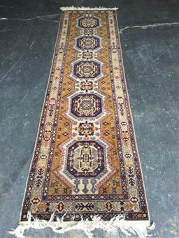 Sale 9137 - Lot 1020 - Hand knotted pure wool yellow & blue Persian runner ( 295 x 77cm)
