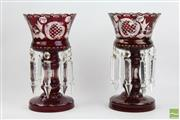 Sale 8501 - Lot 9 - Bohemian Ruby Red Glass Lustre Vases