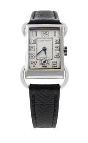 Sale 8522A - Lot 11 - A Ulysse Nardin wristwatch, circa 1950s, 17 jewels, manual wind in good running condition, rectangular shaped nickel silver case, c...