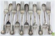 Sale 8533 - Lot 3 - Assembled Set of 12 Silver Fiddle Shell & Thread Dinner Forks