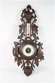 Sale 8747 - Lot 6 - Carved Oak Barometer L: 70cm