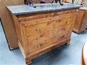 Sale 8848 - Lot 1012 - Probably Charles X Burr Elm Chest or Commode, with mottled grey marble top & four long drawers (Key in office)