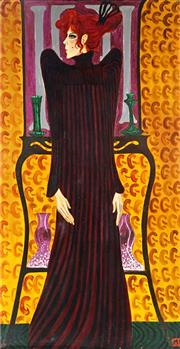 Sale 9047 - Lot 556 - Greg Irvine (1947 - ) - Woman in Black 159 x 82.5 cm (frame: 93 x 169 x 5 cm)