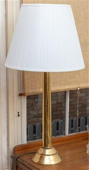 Sale 9058H - Lot 100 - A brass lamp with a pleated shade. H-87cm