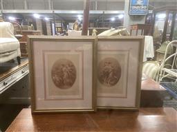Sale 9106 - Lot 2048 - Pair of French C18th mezzotints depicting Les Graces , frame: 58 x 49 cm,