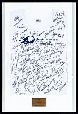Sale 9130S - Lot 85 - Handa Australian Senior Open Championship & Legends Tour open championship signed Jersey. Frame Size 95cm x 65cm