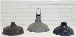 Sale 9154 - Lot 1012 - Collection of 3 vintage enamel light shades (largest 23 x d:35cm)