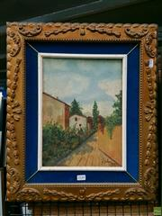 Sale 8582 - Lot 2148 - S.Lahra Village Scene Oil on Canvas, signed & dated 1936, 32x24cm