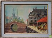 Sale 8600 - Lot 2053 - Artist Unknown - Market by the Canal, oil on canvas on board, 52 x 73cm, signed lower right