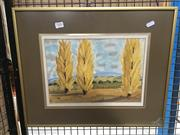 Sale 8754 - Lot 2083 - K.Turner - Autumn Poplars, watercolour, SLR
