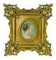 Sale 8828A - Lot 3 - Antique European miniature portrait of a lady Flora in fancy antique gilt frame. Oil on canvas on panel, Oval size 10 x 7 cm - fra...