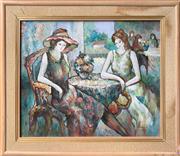 Sale 9072 - Lot 2013 - Lebian Cafe Society oil on canvas , frame:70 x 81cm, signed -