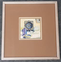 Sale 9155 - Lot 2011 - Patricia Moy Still Life ceramics & Glassware watercolour, frame: 28 x 27 cm, signed lower right -