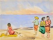 Sale 8363 - Lot 576 - Maude Burge (1865 - 1957) - By the Beach 19 x 25.5cm