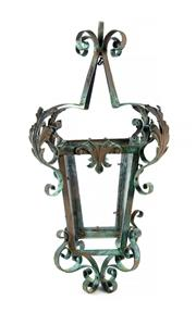 Sale 8422A - Lot 2 - An early French C20th wrought iron bronzed finish hanging lantern, 65cm tall
