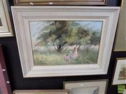 Sale 8474 - Lot 2026 - Anita Newman - In the Orchard, oil on canvas board, 40 x 59.5cm, signed lower left, signed and inscribed verso