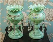 Sale 8577 - Lot 6 - A pair of antique Victorian lustre vases with gilded detail, crystal lustres and lovely handpainted foliage detail in good condition..