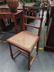 Sale 8598 - Lot 1080 - Set of Five Flemish Oak Chairs, with spindle gallery backs, caned seats & turned legs
