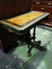 Sale 8653 - Lot 1019 - Victorian Burr Walnut & Enonized Card Table, the top with ebonized band & enclosing a green baize interior, on a turned birdcage bas...