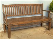 Sale 8745A - Lot 76 - A teak bench, W 158cm