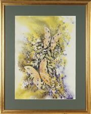 Sale 8789 - Lot 2042 - Anita Newman (1946 - ) - Yellow Butterflies 71 x 52cm