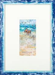 Sale 8855H - Lot 306 - N. Miller, Untitled beach scene, oil on board, 23 x 11cm, signed bottom