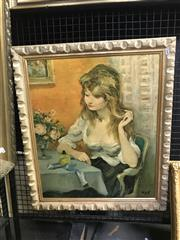 Sale 8981 - Lot 2040 - A Vintage Decorative Print of a Maiden, 70 x 60cm